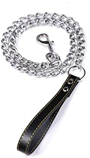 Heavy Duty Short Metal Dog Chain Lead with Black Leather Handle for Training,120cm
