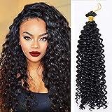 14'(35cm) SEGO Pelo Sintético Rizado para Trenzas Africanas [Negro] Extensiones Cabello Se Ve Natural Crochet Twist Braiding Hair Water Wave (30Roots,100g)
