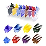 8 Professional Hair Clipper Guards Cutting Guides Fits for Most Wahl Clippers with Organizer, Color Coded Clipper Combs Replacement - 1/8' to 1'
