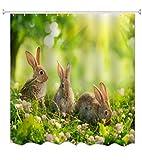 A.Monamour Duschvorhänge Drei Ostern Kaninchen Grün Gras Wiesen Frühling Blume Für Kinder Drucken Wasserdicht Mouldproof Gewebe Polyetser Nicht Pvc Duschvorhang Für Bad Zubehör 180X180 Cm / 72X72 Zoll
