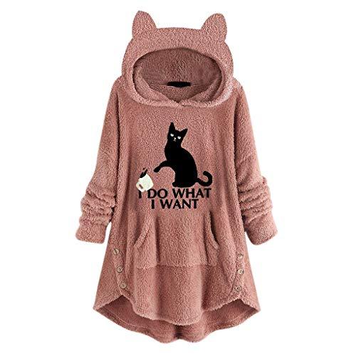 Hoodies FüR Frauen - Frauen Oversize Kapuzen Pullover Damen Faux Fleece Stickerei Katze Ohren Knopf Saum Hoodie Top Outerwear(Rosa,5XL)