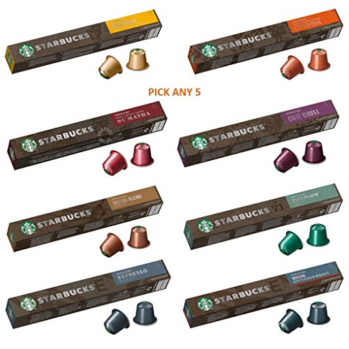 Starbucks by Nespresso Coffee Pods. Pick Any 5 Packs from 8 Blends Including: Espresso, Lungo, Decaf and Many More
