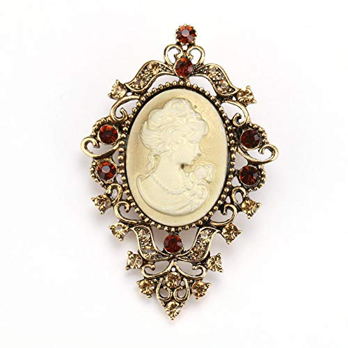 RelaxLife Brooches Crystal Rhinestone Vintage Victorian Style Cameo Brooch Elegant Lady Scarf Beauty Head Brooch Pins For Women Accessories
