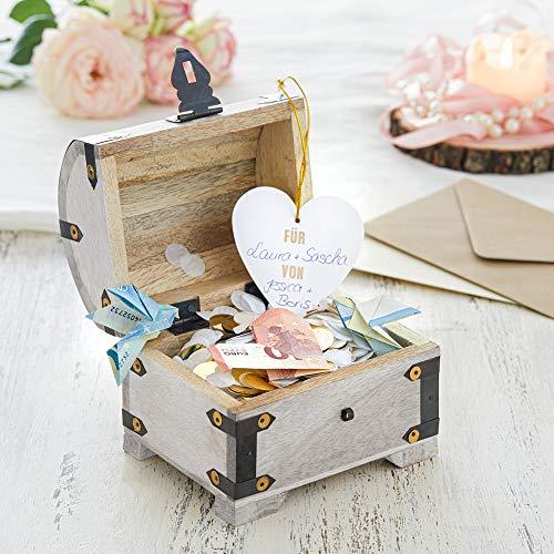 Casa Vivente Schatztruhe mit Gravur zur Hochzeit, Motiv Ringe, Personalisiert mit Namen und Datum, Schmuckkästchen aus weißem Holz, Geldgeschenke - 5
