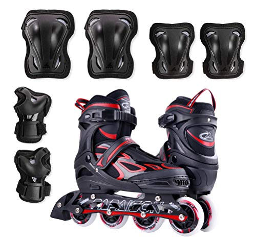 Roller Skates, Inline Skates, Hockey Roller Blades for Kids, Adults, Girls, Boys, Men and Women. Adjustable 4 PU Flashing, Light Up Wheels. Protective Gear Included for Outdoor Recreation and Sports