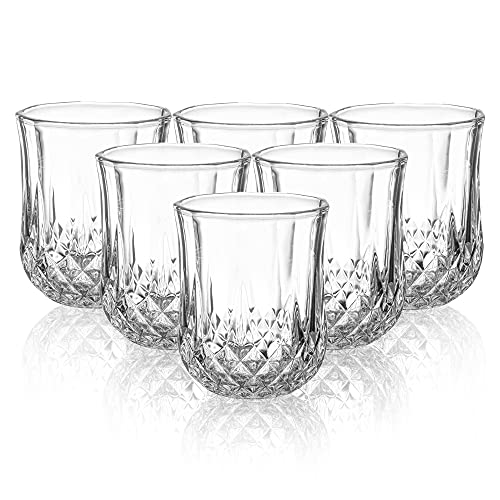 Joeyan Bicchieri Acqua Diamond Set di 6-210ml Bicchieri in Vetro Rilievo - Bicchieri da caffè per Latte, Espresso, tè, Succo, Cocktail e Whisky