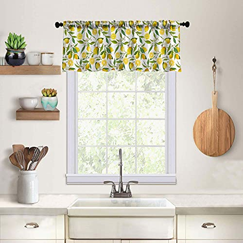 Kitchen Window Treatment Valances,Decorative Curtains,for Bathroom,Living Room and Dining Room Decoration,Curtain Hanging Cloth,52X18 Inches,Lemon Flower