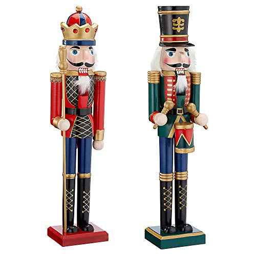 Cepewa Nussknacker aus Holz Set König+Trommler r/g r/b 38 cm Weihnachtsdeko Figur Erzgebirge Nussbrecher Nutcracker Nusszange (1 x Nussknacker Set König+Trommler r/g 38 cm)