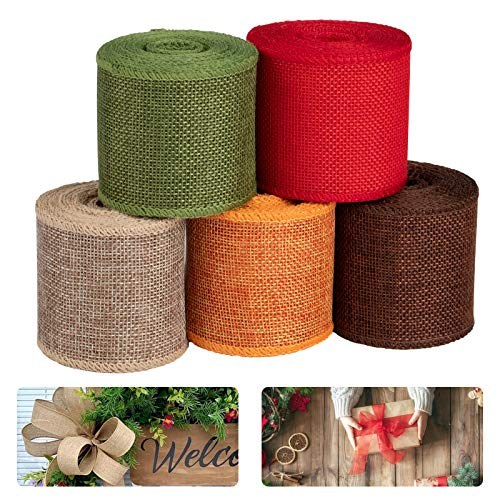 COCHIE Cinta decorativa para regalo, cinta de árbol, cinta de tela de arpillera, cinta decorativa de yute, cinta decorativa de yute (5 rollos)