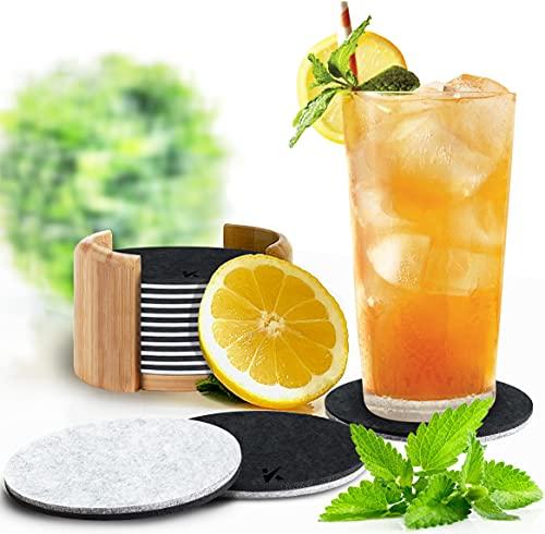 Kreativa - Juego de 13 posavasos redondos para vasos, diseño de 2 colores, incluye soporte de bambú, posavasos de cristal en antracita/gris claro para bebidas, tazas, bar, cristal,
