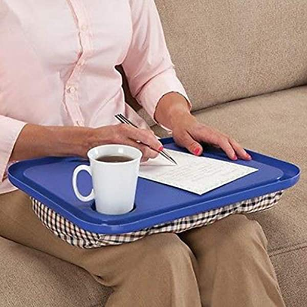M Kvfa Lap Desk For Laptop Chair Student Studying Homework Writing Portable Dinner Tray Notebook Stand Reading Holder For Feasting Perusing Composing Blue