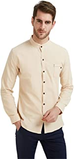 Plaid&Plain Men's Long Sleeve Mandarin Collar Shirts Men's Slim Fit Linen Shirt