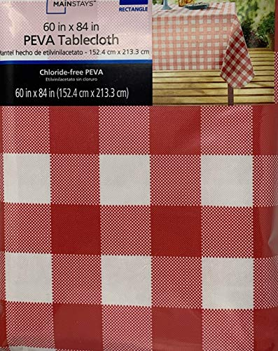 Mainstays Vinyl Tablecloth 60x84 Red Check Theme