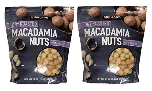 Kirkland Signature Dry Roasted Macadamia Nuts with Sea Salt, Resealable Bag (48 Ounce (Pack of 2, 24 OZ Each Pack))