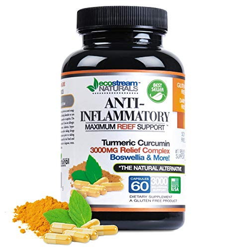 Anti-Inflammatory by Ecostream Naturals, for Inflammation-Induced Pain, Day or Night Use, Naturally Derived Ingredients, Safe and Effective, Gluten-Free, 60 Vegetarian Capsules