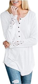 OULSEN Spring Autumn Fashion Casual Women Tunics Button Crew Neck Splice Long Sleeve Loose Casual Long Top Blouse