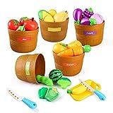 BeebeeRun Kinderküche Zubehör, Kinder Küchenspielzeug, Schneiden Sie Obst Gemüse mit 5 Scheffelkorb, Lebensmittel Spielzeug, Kinder-Rollenspiele, Geschenke Für Jungen Mädchen Über 3 Jahre alt