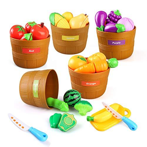 BeebeeRun Giocattolo Alimentare per Bambini,Tagliare Il Ortaggio alla Frutta con 5 Cesto di Bushel,Giocattoli da Cucina, Giochi d'imitazione, Giocattolo Educativo Regalo per Ragazzi Ragazze 3 Anni+