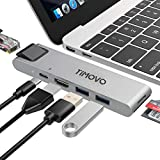 TiMOVO USB C Hub Adapter, 7-in-2 Adapter with 4K USB C to HDMI, Gigabit Ethernet, Thunderbolt 3, 2 USB 3.0 Ports, SD/Micro Card Reader, for MacBook Pro & MacBook Air 2019/2018/2017 - Gray