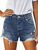 Vetinee Women's Dark Blue Summer Mid Rise Frayed Raw Cutoff Hem Ripped Destroyed Casual Jeans Denim Shorts X-Large (US 16-18)