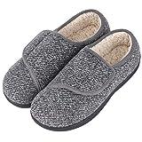 LongBay Men's Memory Foam Diabetic Slippers Comfy Warm Plush Fleece Arthritis Edema Swollen House Shoes (10 D(M), Gray)