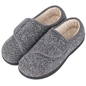 LongBay Men s Memory Foam Diabetic Slippers Comfy Warm Plush Fleece Arthritis Edema Swollen House Shoes  12 D M  Gray