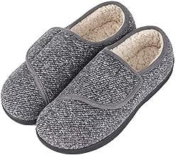 LongBay Men's Memory Foam Diabetic Slippers Comfy Warm Plush Fleece Arthritis Edema Swollen House Shoes (12 D(M), Gray)