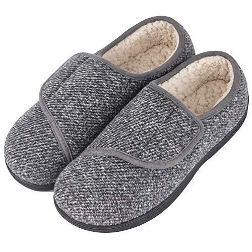 LongBay Men's Memory Foam Diabetic Slippers Comfy Warm Plush Fleece...