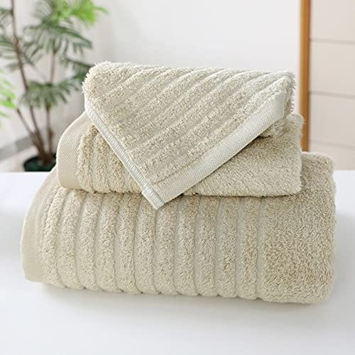 Juego de toallas de algodón egipcio 34*34/35*75/70*140 Cm Patrón de onda Toalla de baño de fibra de bambú Toalla de baño de tres piezas gruesa absorbente   Juego de toallas