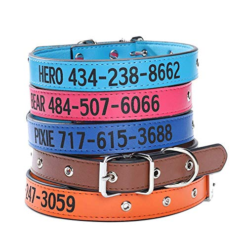 Custom Dog Collar,Personalized Engraved Leather Dog Collar with Names Embroidered Pets ID Phone Number for Large Medium Small Dogs Female Male Puppy Adjustable Buckle