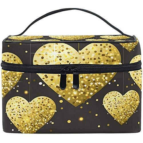 Voyage Sac cosmétique Golden Heart Valentine 's Jour Maquillage Sac Pochette fourre-Tout Cas Organisateur de Stockage pour Femmes Filles