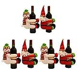 Decoración de botellas de vino de navidad Botella de vino Santa Claus muñeco de nieve gran conjunto soporte for botella de vino for el partido del hogar de la tabla de cocina del hotel Bar Decoración