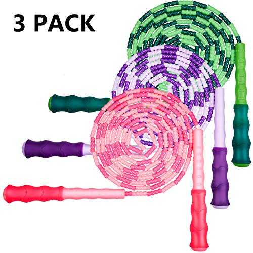 Zonon 3 Pieces Soft Beaded Jump Rope Adjustable Segment Skipping Rope Tangle-Free Jump Rope with Anti-Slip Grip for Outdoor and Indoor Sports (Pink, Green, Purple)