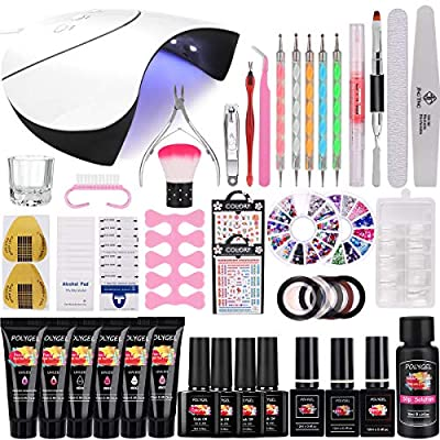 Polygel Nail Set with UV LED Lamp, MYSWEETY 15ml 6 Colours Nail Extension Builder Gel for Beginners, with Base Coat, Top Coat, Slip Solution, Polish Remover Wraps Pads, Manicure Tool Accessories Kit