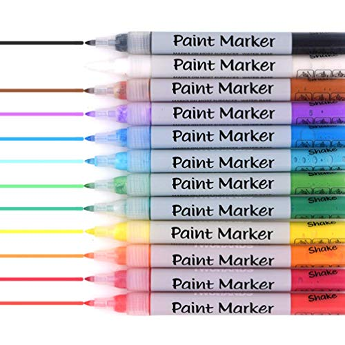 Paint Pens Acrylic Markers Set ,12-Colors , For Rock Painting, Glass, Wood, Porcelain, Ceramic, Fabric, Paper, Kindness Rocks, Mugs, Calligraphy and More, Fine Tip 901709