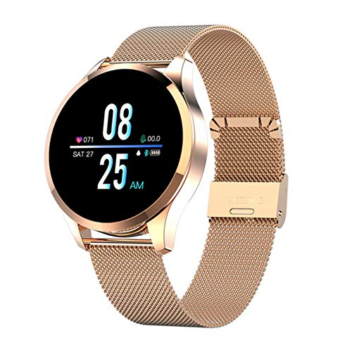 JXFF Reloj Inteligente Q9, Impermeable, Recordatorio De Mensajes Smartwatch, Monitor De Ritmo Cardíaco para Hombre Moda Fitness Tracker PK Q8 Q1 para iOS Android,C