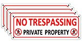 i-CowFun (4 Pack) No Trespassing Signs Private Property, Metal Warning Sign Outdoor for Fence, 10 x 3.5 inches Aluminum Reflective Security Signs for Yard House Garden Rust Free