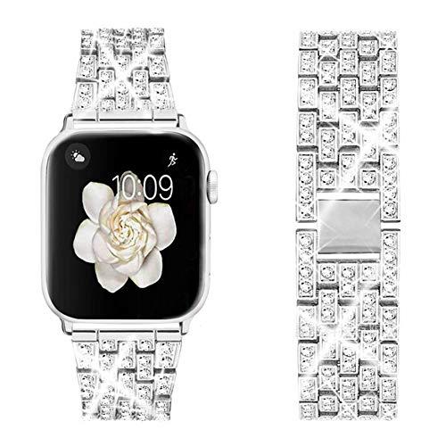 DEALELE Cinturino con iWatch 38mm 40mm 42mm 44mm, Bracciale di Ricambio Diamante Acciaio Inossidabile Metallo per Apple Watch Series 5/4 / 3 Donne, 42/44mm, Argento