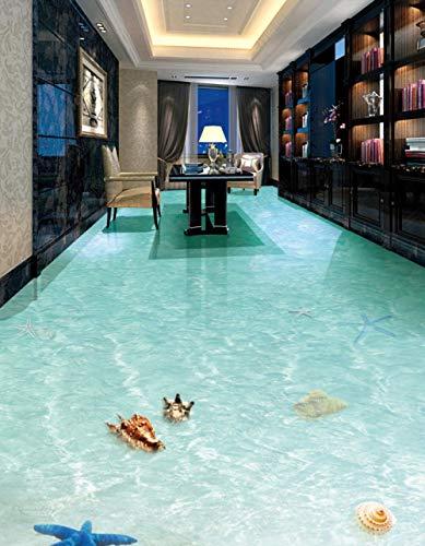 Personalizza Linoleum Pavimento Rotolo Beach Starfish Conch Shell Bathroom 3D Floor-200 * 140Cm