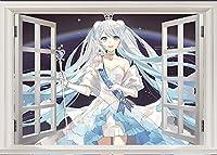 3DHatsune Miku 初音ミク 立体卧室 墙贴 时尚的墙贴 室内装饰 时尚 墙壁装饰 可剥离 防水 环保材料-80X120CM-A_80*120CM