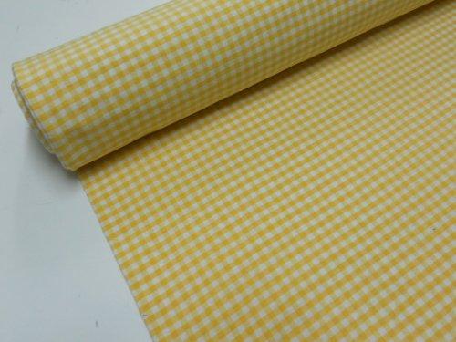 Confección Saymi Metraje 0,50 MTS Tejido Vichy, Cuadro pequeño 5x5 mm. Color Amarillo, con Ancho 2,80 MTS.