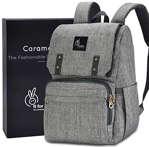 R for Rabbit Caramello Baby Diaper Bag for Mother, Waterproof, Large Capacity Maternity Bag for Travel (Grey)