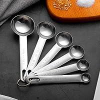 Photo Gallery set di 6 cucchiai dosatori da 1/8, 1/4, 1/2, 1 cucchiaio da tè, 1/2, 1 cucchiaio da tavola, cucchiai dosatori in acciaio inox, da cucina, per ingredienti liquidi e secchi, con contrassegno