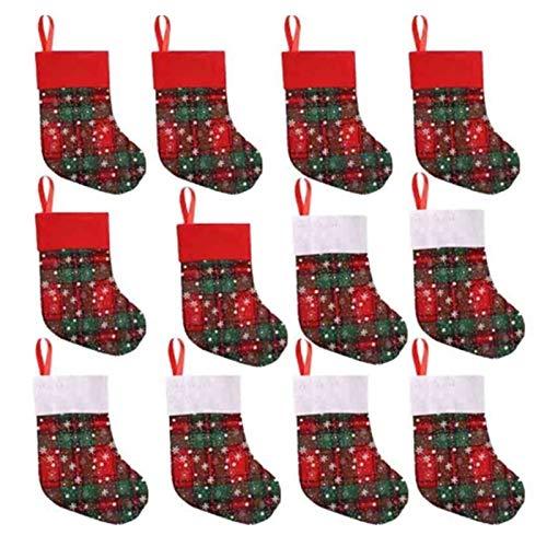 LUOSI 12pcs Medias De Navidad Regalos del Caramelo Bolsa For Niños Caramelo Calcetines De Navidad Árbol De Navidad La Decoración del Hogar Caída De Árboles De Navidad Colgante De La (Color : Red)