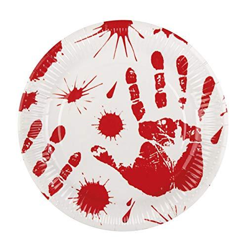 Boland- Set 6 Piatti Horror Bloody in Carta, Bianco/Rosso, 72100