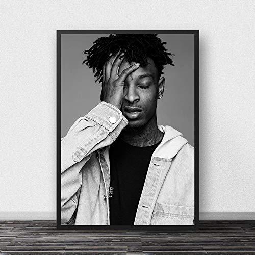 xiangpiaopiao 21 Savage Poster Rap Music Star Hip Hop Rapper Lienzo Pintura Carteles E Impresiones Arte Cuadros De Pared Sala De Estar Decoración del Hogar 50X70Cm (6R-5804)