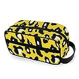 Organizador de Neceser de Maquillaje de Color Amarillo Leopardo sin Costuras Extravagante Colorido con Cremalleras Neceser de Cuero de Mano Accesorios de Viaje Bolsas de Viaje para artí
