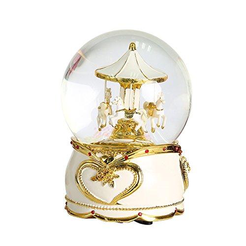 Bola de cristal Non Rock con tiovivo de caballitos y caja de música navideña. Lujosa, pequeña, giratoria, con cambio de color de luz