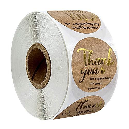 N /A 500 st tack för att du stöder mitt företag kraftklistermärken med guldfolie runda etiketter klistermärke för liten butik handgjort klistermärke (guld)