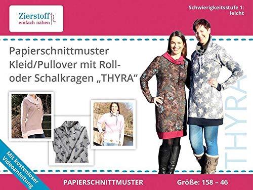Zierstoff einfach nähen Schnittmuster auf Papier für EIN Kleid oder Pullover mit Rollkragen oder Schalkragen Thyra, Gr. 158 bis Damengr. 46